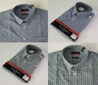 MENS PIERRE CARDIN BLUE OR GREEN SHORT SLEEVED CHECK SHIRT FOR SALE - RRP £19.99