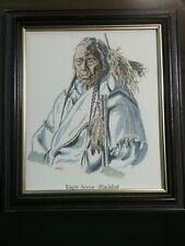 "Vtg.WOOD Native American Watercolor/Ink Framed Portrait""Eagle Arrow-Blackfoot"""
