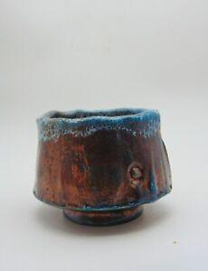 Studio  Pottery Copper turquoise blue  Raku yunomi