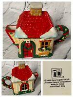 Rare Vintage 2000 Mary Engelbreit Christmas Cottage Mini Teapot Miniature Home