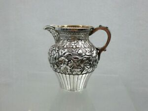 STUNNING ANTIQUE STERLING SILVER REPOUSSE HAND CHASED CREAMER MILK JUG Caldwell