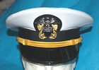 US NAVY STYLE OFFICERS VISA CAP & BADGE WHITE COTTON TOP AND GOLD CHIN STRAP.