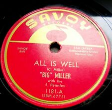 0158/ BIG MILLER -Rythm+Blues-All is well -Try to understand-78rpm Schellack