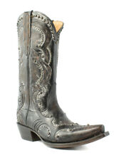 Lucchese M5110.S54 Womens Black Distressed Calf Leather Cowboy Western Boots 7 B