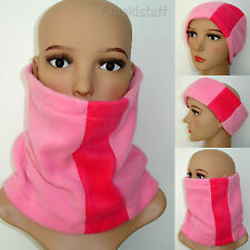 ladies girls RASPBERRY / HOT PINK NECK WARMER fleece scarf snood skiing hat cowl