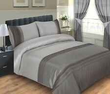 LUXURY SILVER & CHARCOAL OPAL DUVET COVER / BED SET INC PILLOWCASES - KING SIZE
