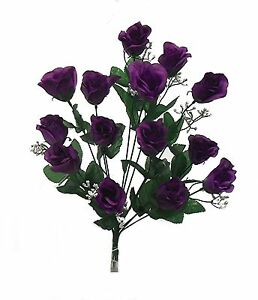 14 Artificial Rose Bud Long Stem Bouquet Silk Flowers Wedding Bush Party Fake