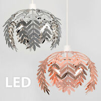 MiniSun 30cm Easy Fit LED Ceiling Pendant Light Shade Copper Chrome Leaf Design