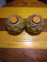 Vintage Looking Pottery Green Round Candle Holders