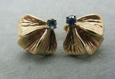 Vintage Chunky 14k Yellow Gold Blue Sapphire Flower Petal Pierced Earrings