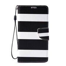 Black White Stripe Wallet Leather Case Pu Cover For Samsung Galaxy Note II 3 4