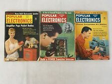 Lot Of 3 1957 Popular Electronics Magazines Vintage Radios Ads Fast Ship