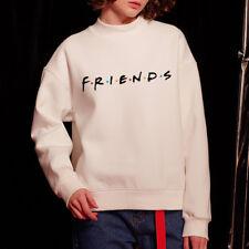 Womens FRIENDS Print Hoody Sweatshirt Ladies Slouch Pullover Sweater Jumper Tops