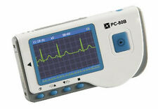 PC-80B HANDHELD ECG/EKG monitor COLOR SCREEN W/DISPOSABLE SNAP ELECTRODES