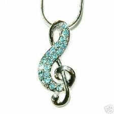 w Swarovski Crystal Blue TREBLE G CLEF MUSIC NOTE Musical Charm Pendant Necklace