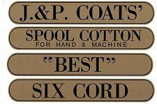 J & P COATS SPOOL CABINET DECAL 4 PIECE SET / Black on Gold  9 1/2 X 1 11/16