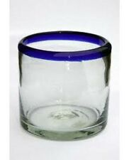 Mexican Glassware - Cobalt Blue Rim DOF - rock glasses (set of 6)