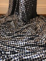 """1 Mtr Navy/Silver Hounds Tooth Print Crushed Velvet fabric 58""""Wide Stretch"""