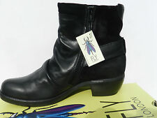 Fly London Mel Chaussures Femme 40 Bottes Bottines Montantes Motard Noir UK7 New