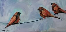 JOSE TRUJILLO Oil Painting IMPRESSIONISM BIRDS ON A WIRE COLLECTIBLE ARTWORK NR