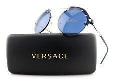 b0e8715d5a5e NEW Authentic VERSACE Medusa Madness Blue Silver Round Sunglasses VE4337  5251 80