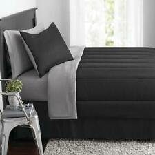 King Size Comforter Set 8 Pieces Black Gray Bed in a Bag Soft Bedding Comfort