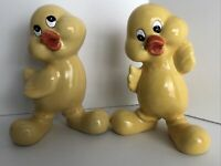 Vintage Duck Pair Chick Peep Yellow Easter Kitch Anthropomorphic Decor