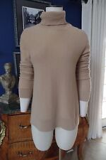NEIMAN MARCUS BEIGE Turtleneck 100% Cashmere Long Sleeve Sweater L