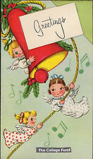 Vintage Christmas Card CUTE LITTLE ANGELS Ring a RED Church BELL UNused Greeting