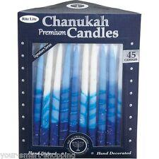 45 Premium Hanukkah Chanukah Candles Blue & White Stripe - Handcrafted