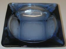"Anchor Hocking Glass Blue Ashtray 4¼"" square Mid-Century Tobacciana RARE"