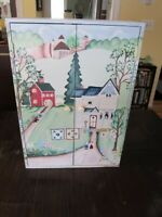 Beautiful Hand-painted primitive wood cabinet folk art barns, country antique