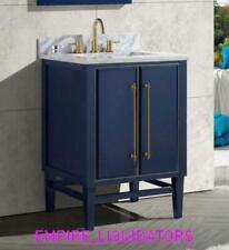 "Avanity Mason 24"" Bath Vanity Cabinet In Navy Blue With Gold Trim W/ Stone Top"