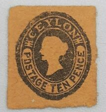 Ceylon 10 pence Small Stamp Unlisted Queen Victoria Revenue Stamp??? ST147