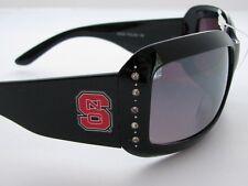 North Carolina State Wolfpack Black Crystal Fashion Womens Sunglasses NCSU S4JT