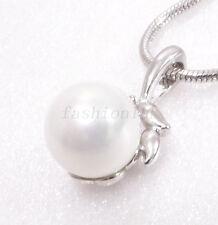 Donna Ciondolo Collana Bianco Oro Placcato 8mm Shell Pearl Ragazza LADY Natale Compleanno