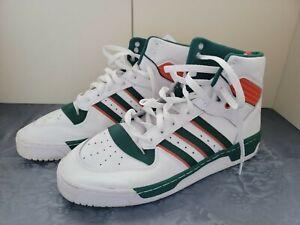 Men's Adidas Rivalry Hi Green/ Orange/ White FV5377 Sz 12 Preowned