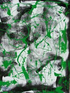 Modernist ABSTRACT PAINTING Expressionist MODERN ART GREEN DEVELOPMENT FOLTZ