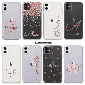 PERSONALISED CLEAR NAME CASE INITIALS SILICONE COVER FOR APPLE IPHONE 12 11 SE 7
