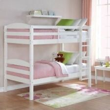 White Finish Wooden Twin Over Twin Bunk Beds Kids Convertible Bedroom Furniture