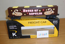 New listing K-Line K675-5301 Circus House Of Reptiles Wood-Sided Vat Car O Gauge Train Snake