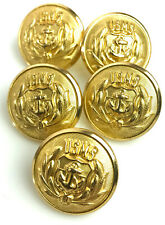 Vtg lot of 5 Gold tone Metal Waterbury United States Maritime Service Buttons