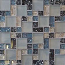 Sample- Blue Crackle Glass Mosaic Tile Kitchen Backsplash Bath Wall Sink 1 Pool