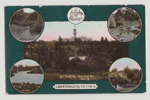 Australia VIC VICTORIA Botanical Gardens MELBOURNE H&B multiview postcard c1906