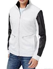 Inc International Concepts Full-Zip Faux-Leather Sleeves Jacket, Gray, Large