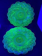 Vaseline Glass Plates Pair Uranium Depression Coffee/Saucer Edwardian Art Deco