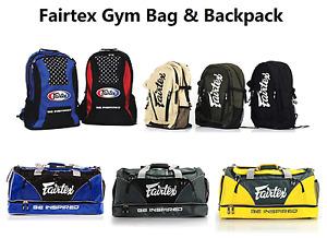 Fairtex Muay Thai Boxing Gym Bag Backpack Black Red Blue Gray MMA K1 All Sports