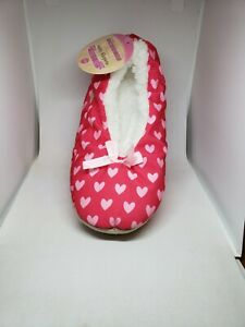 Womens Skidders Sherpa Lined Satin Slippers Pink Hearts S/M 5-6 Gripper Sole