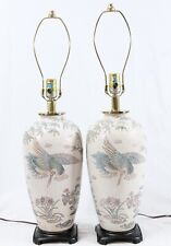 Chinese Painted Enamel Porcelain Vase Vintage Table Lamps Pair Crane Bird Bamboo
