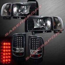 Combo Set of Euro Black Headlights + LED Taillights for 94-01 Dodge Ram Pickup